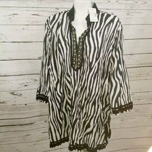 NWT Liz & Me Tunic Top Zebra Stripe Plus 3x